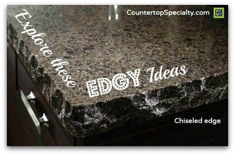 Chiseled gray granite countertop edges