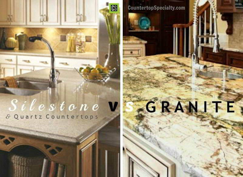 Silestone vs Granite vs quartz countertop materials comparison side by side