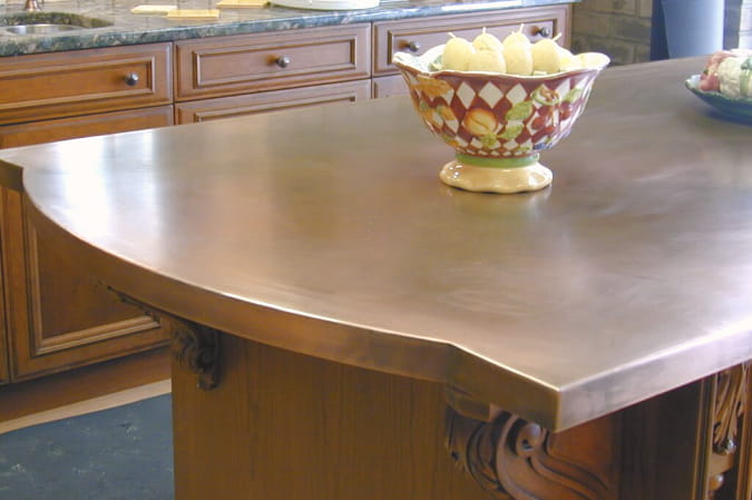 copper countertops curved edge on kitchen island