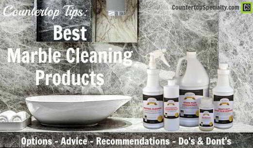 best and safest marble cleaning products - bottles of marble cleaners