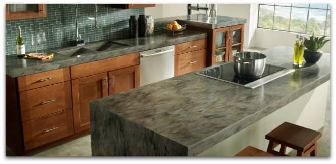 Corian countertops color sorrel on kitchen island glass tile backsplash