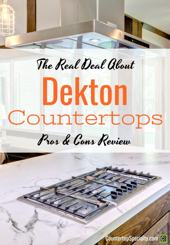 white dekton countertops on kitchen island with cooktop - text overlay - Dekton countertops pros and cons review