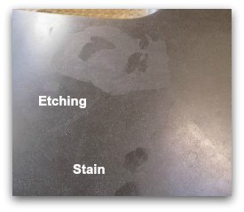 etching stains on honed absolute black granite countertops