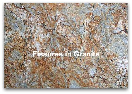 fissures in granite slab golden crystal red