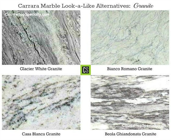 four granite countertop colors that look like Carrara marble