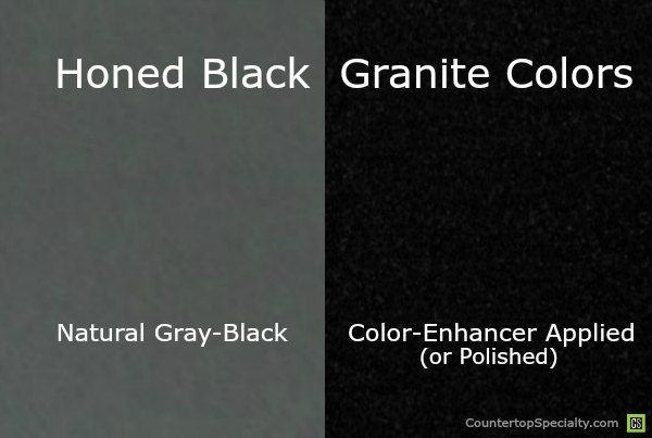 honed absolute black granite countertop with color enhancer vs natural color