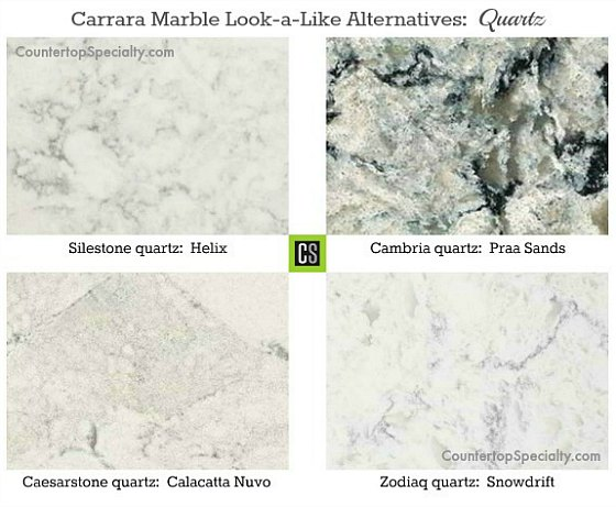 four quartz countertop colors that look like white Carrara marble-collage