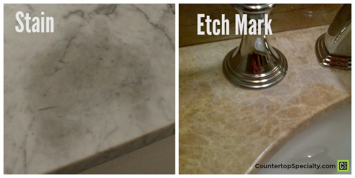 Marble Stain Compared To Etching On Honed Carrara Countertops
