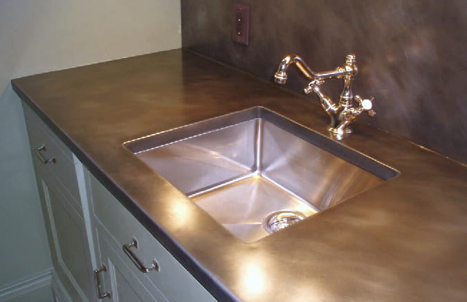 bronze metal countertops patina finish