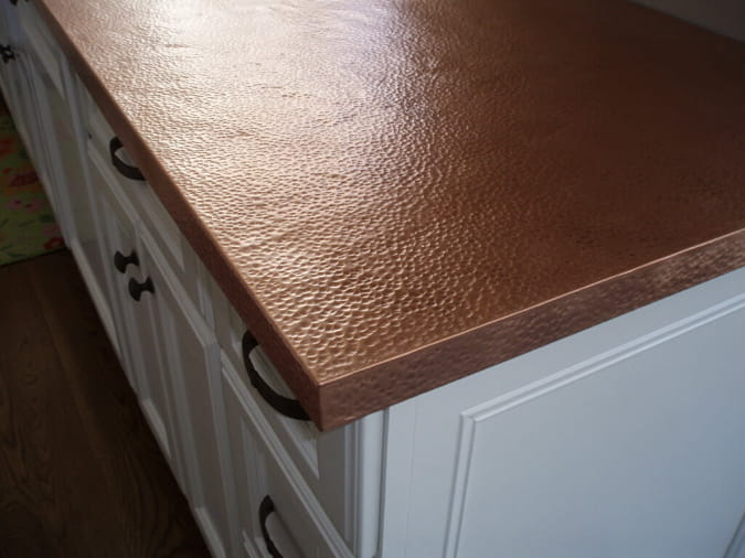 copper countertops hammered texture