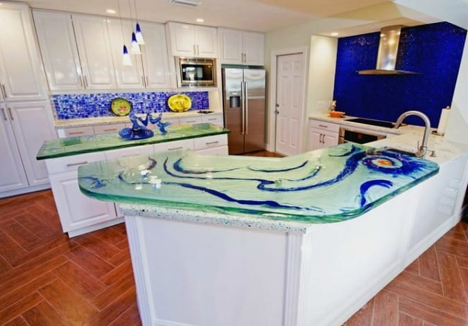 glass countertop with custom blue color swirls on kitchen island