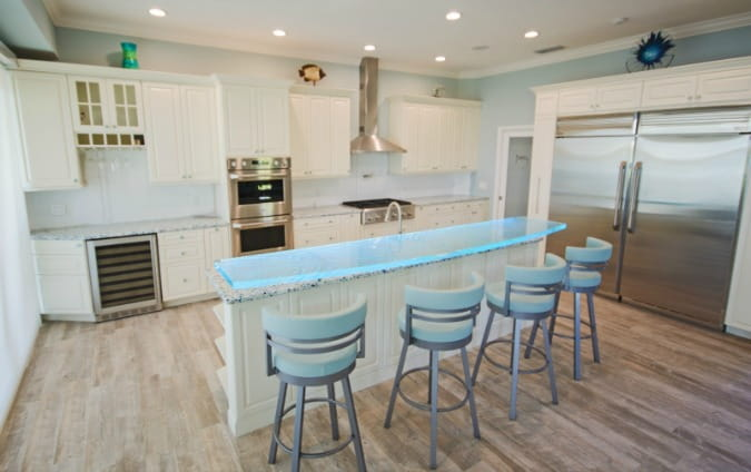 glass countertop - translucent green bar top on kitchen island