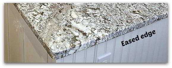 Square eased gray granite edges on kitchen countertops