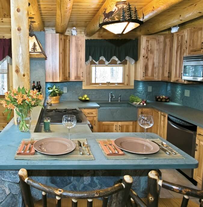 green slate countertops, rustic kitchen design, natural wood cabinets, floors, beams