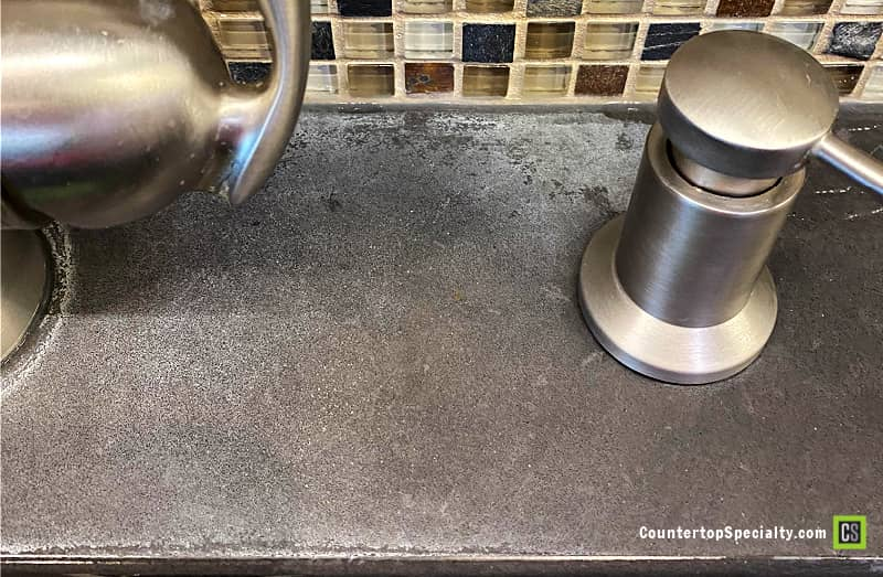 hard water stains on concrete countertops kitchen faucet