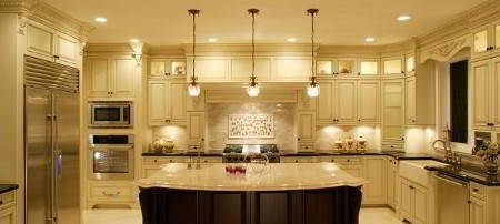 black granite countertops & marble kitchen island