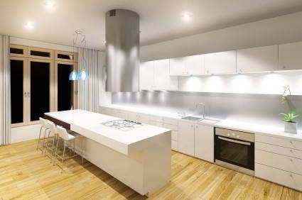 Modern white kitchen quartz countertop photo