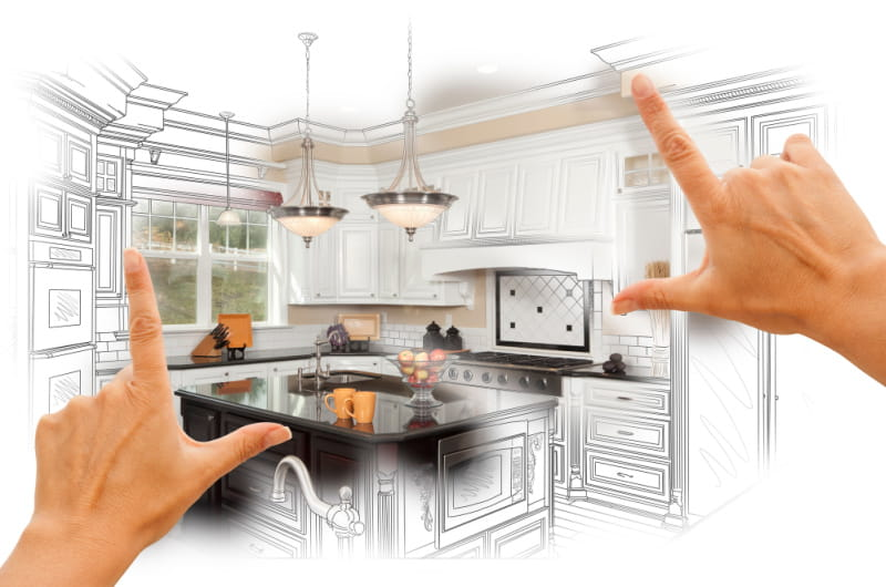 kitchen remodeling mistakes - design drawing with hands framing kitchen island