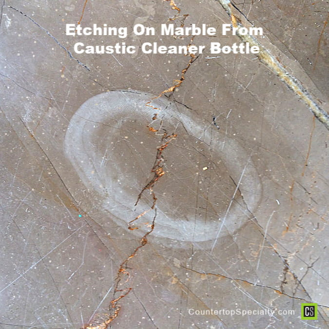 dull etch mark on marble using wrong marble cleaner