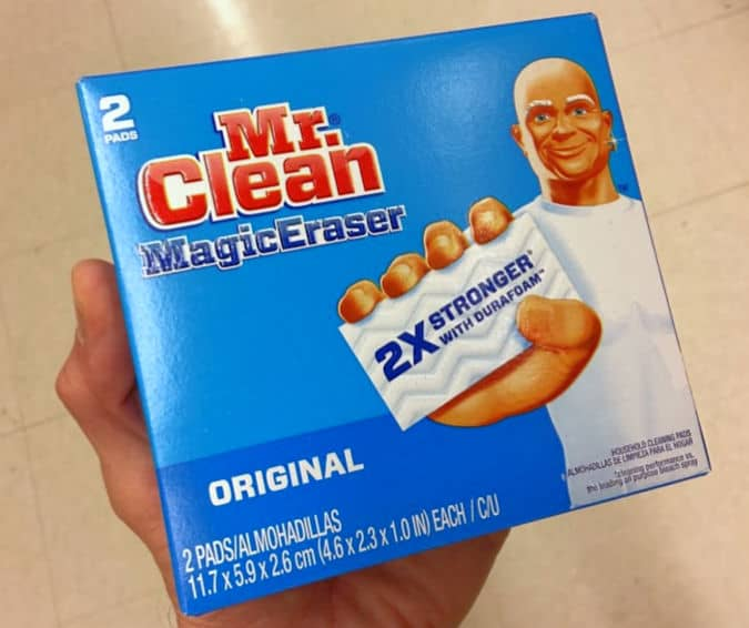"mr. Clean magic eraser product box"" title=""Mr. Clean Magic Eraser Damages Marble Countertops"