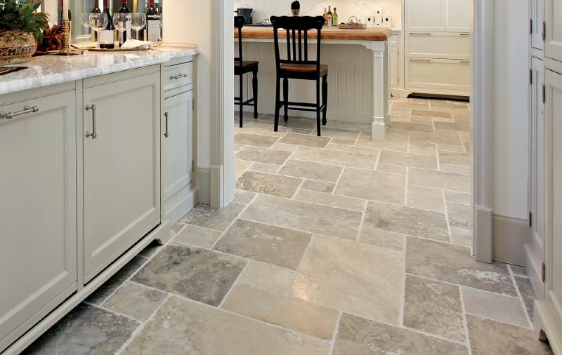 natural stone flooring travertine tile in luxury kitchen