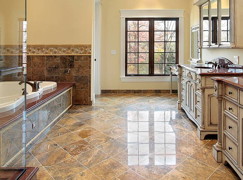 natural stone tile flooring brown granite in large bathroom