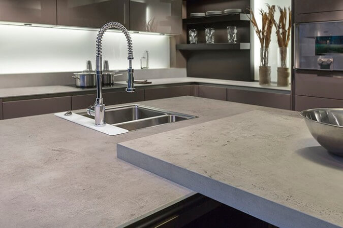 neolith countertops that look like concrete in contemporary urban kitchen