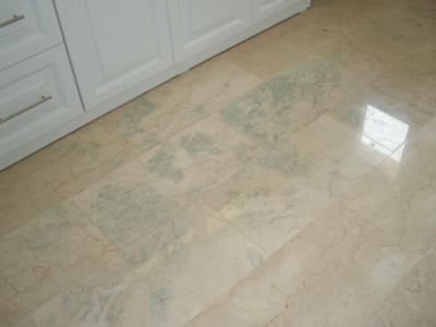 green stains after installing marble floor tiles