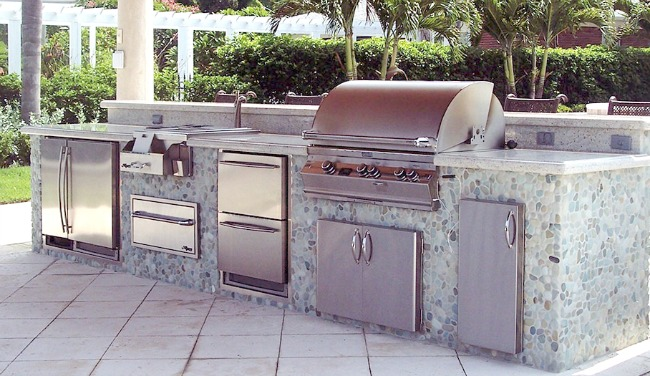 Outdoor Kitchen Liances Fridge Grill Burner Cabinets