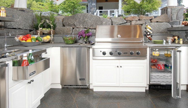 Outdoor Kitchen Design White Cabinets Stone Countertops