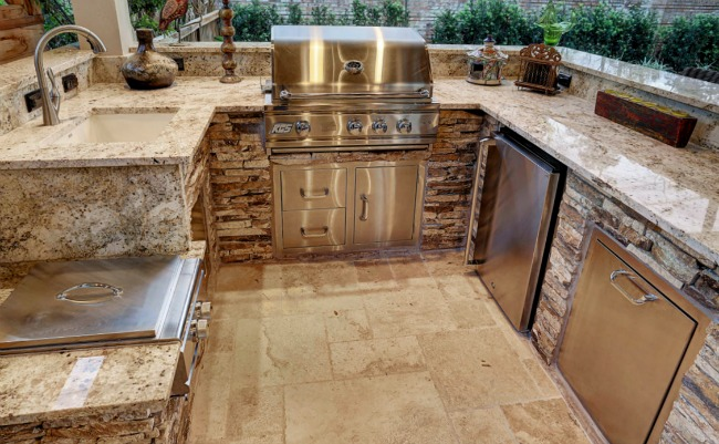 outdoor kitchen white granite countertops