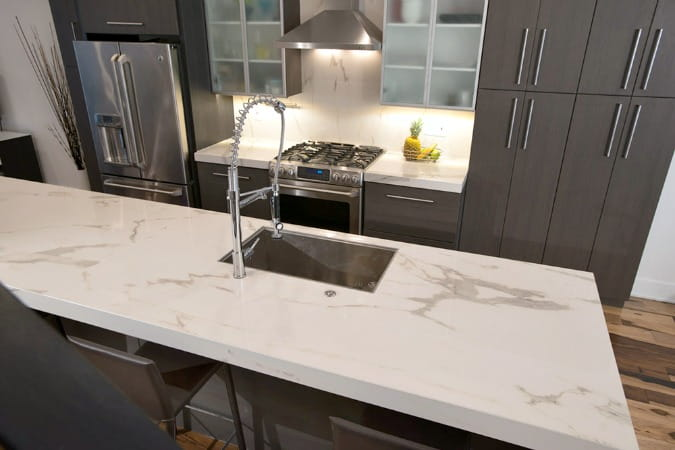 porcelain countertops that look like marble on kitchen island