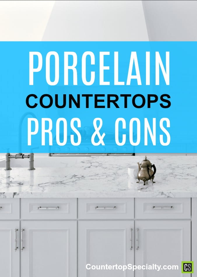 white porcelain countertops and cabinets - all white kitchen design - text overlay - porcelain countertops pros & cons review