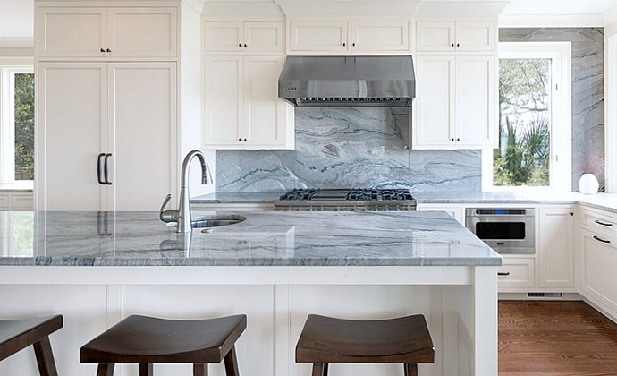 Bon Blue Macaubus Quartzite Countertops On Kitchen Island And Backsplash