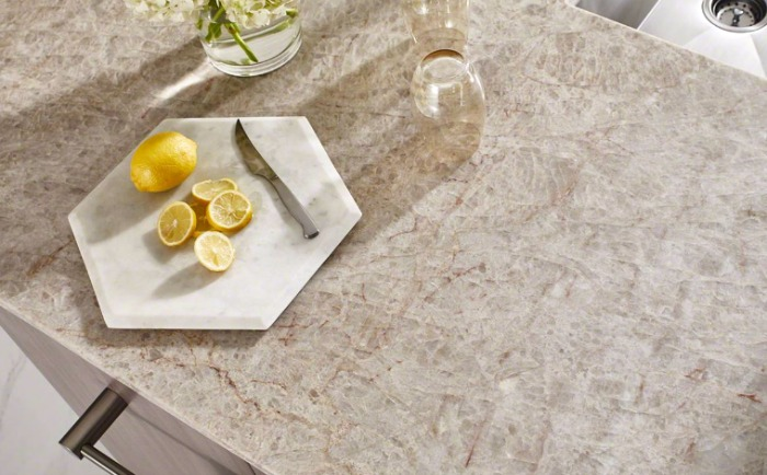 silver-gray quartzite countertops with lemons