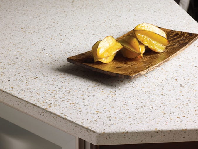 White Recycled Glass Countertops With Fruit Plate