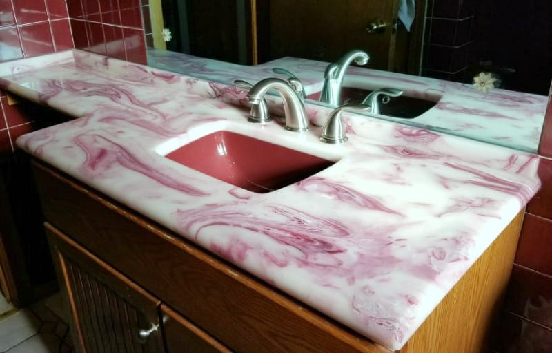 retro cultured marble vanity top white with red swirls and red sink