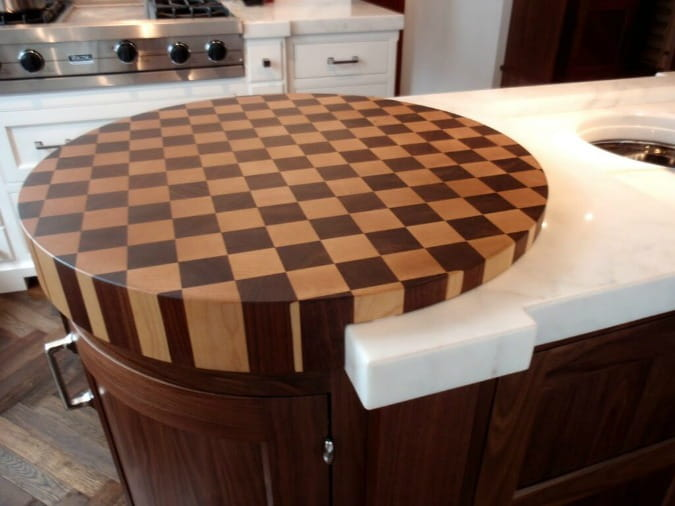 round checkered butcher block countertop