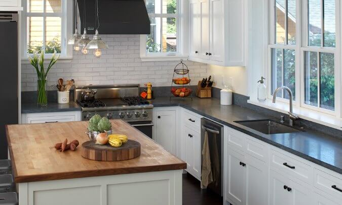 Slate Countertops In Modern Black And White Kitchen Design