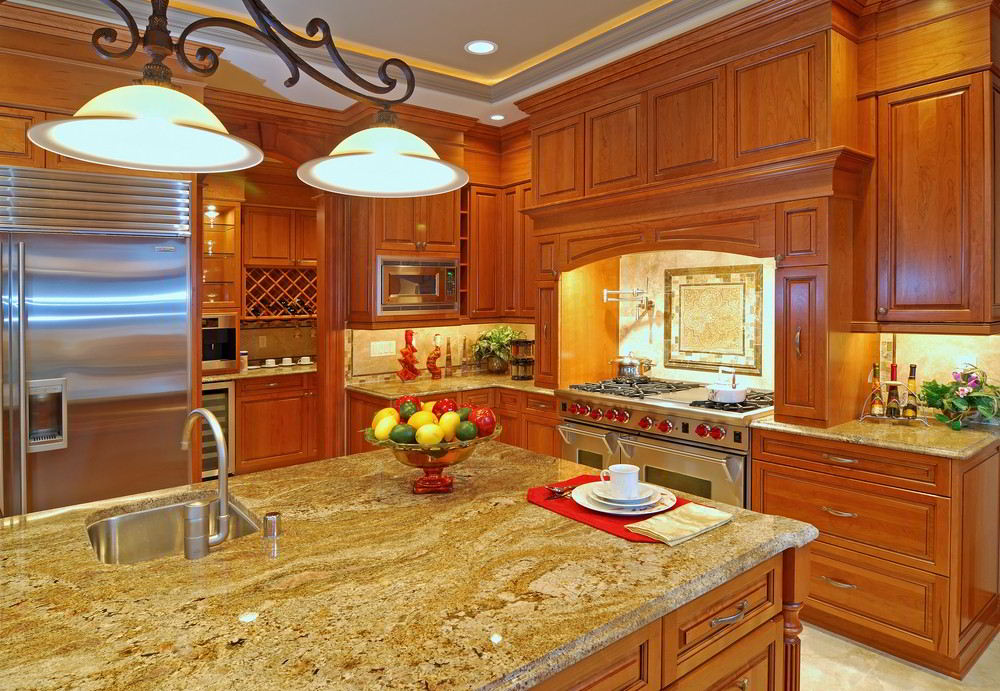 yellow granite countertops cashmere gold luxury kitchen photo