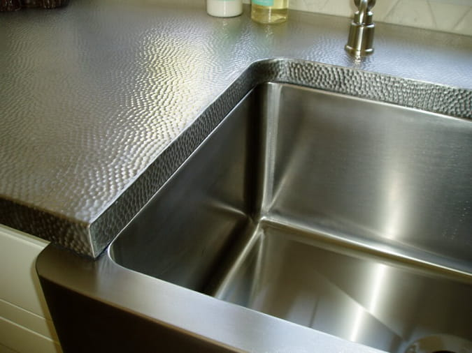 stainless steel-countertops hammered finish farmhouse stainless sink