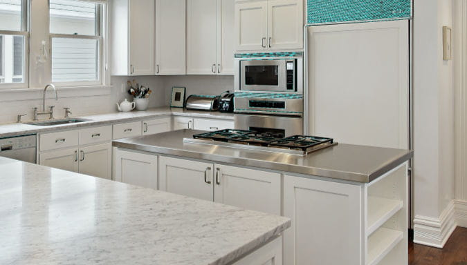 stainless steel countertops kitchen island white kitchen design