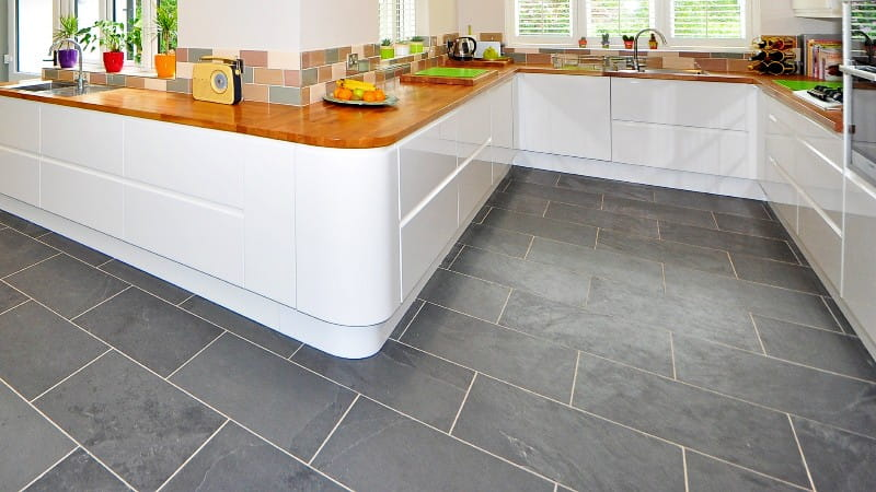 stone flooring gray quartzite tile in large kitchen