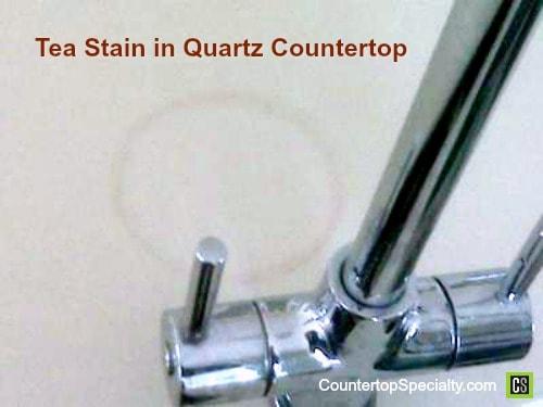 tea stain - white quartz countertop stain