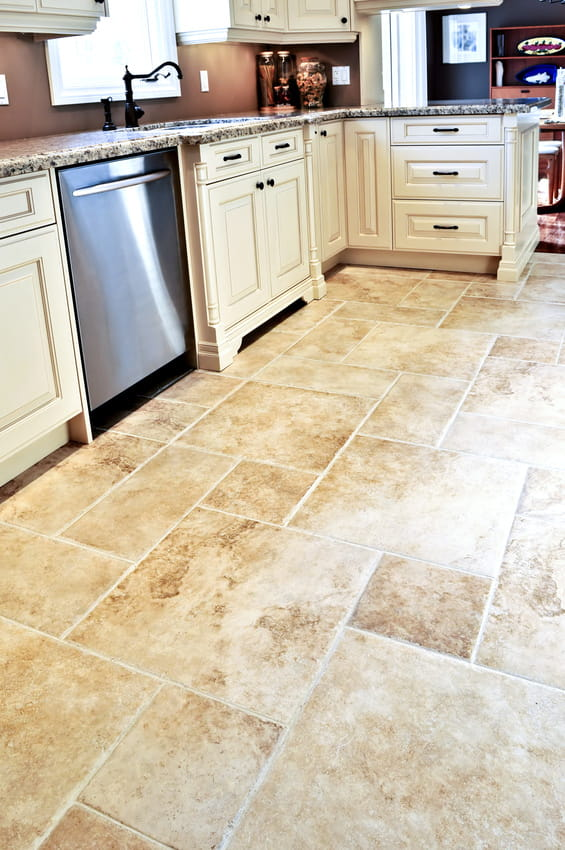 textured floor design travertine tile kitchen