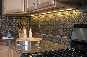 One idea I considered for my kitchen was a backsplash made of tin