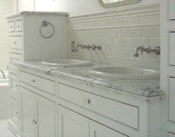 Carrara Marble Bathroom Countertop Vanity Two Sinks