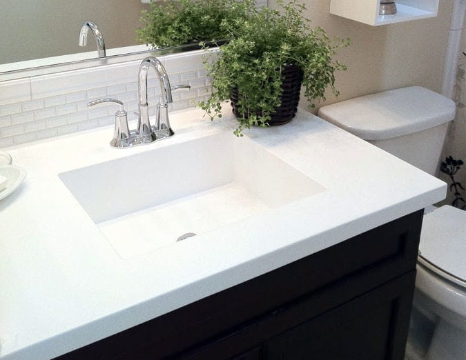 white cultured marble vanity top molded square sink