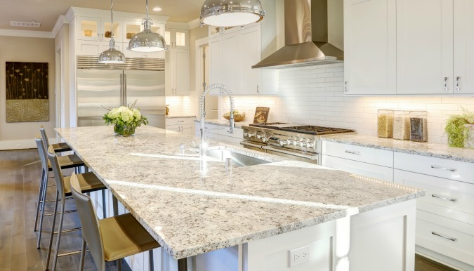 Granite Countertops Review & Buyer's Guide | Countertop Specialty on white refrigerator kitchen ideas, counter top kitchen ideas, white cabinets kitchen ideas, white appliances kitchen ideas,