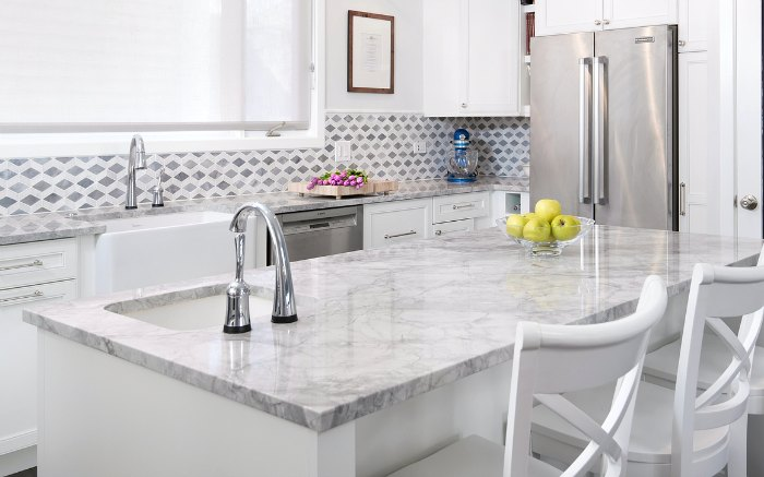 Beau White Quartzite Countertops On Kitchen Island